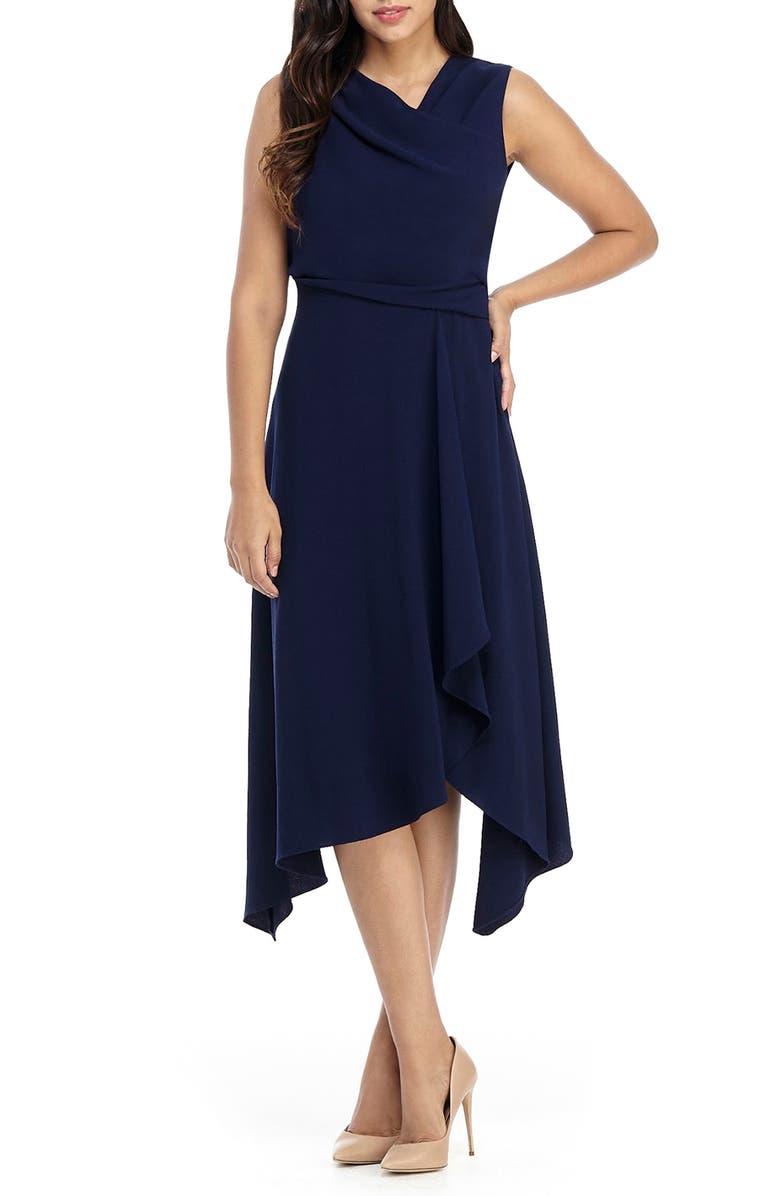 MAGGY LONDON Asymmetrical Neck Dress, Main, color, NAVY