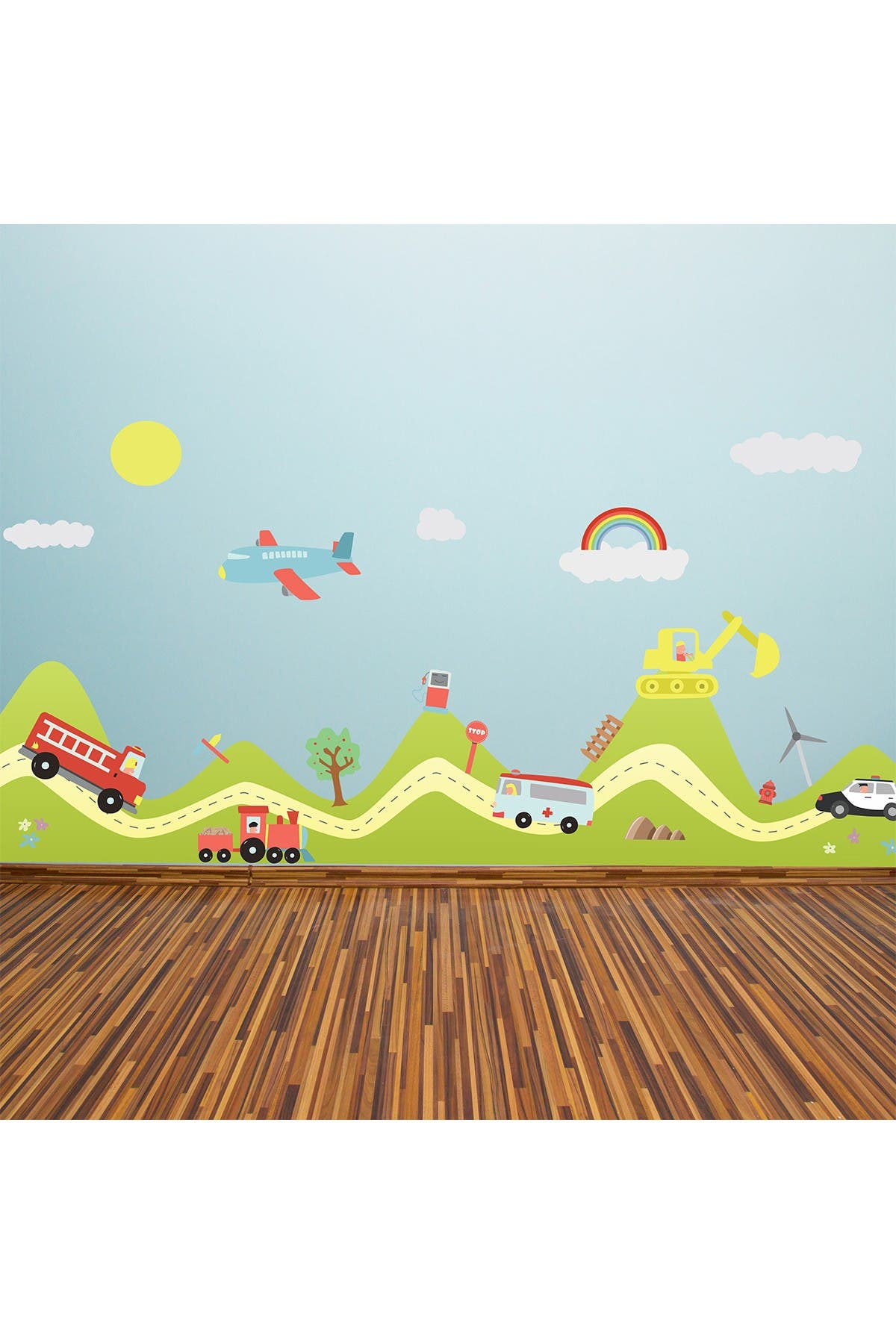 Image of WalPlus Hills Happy Cars Kids Wall Decal
