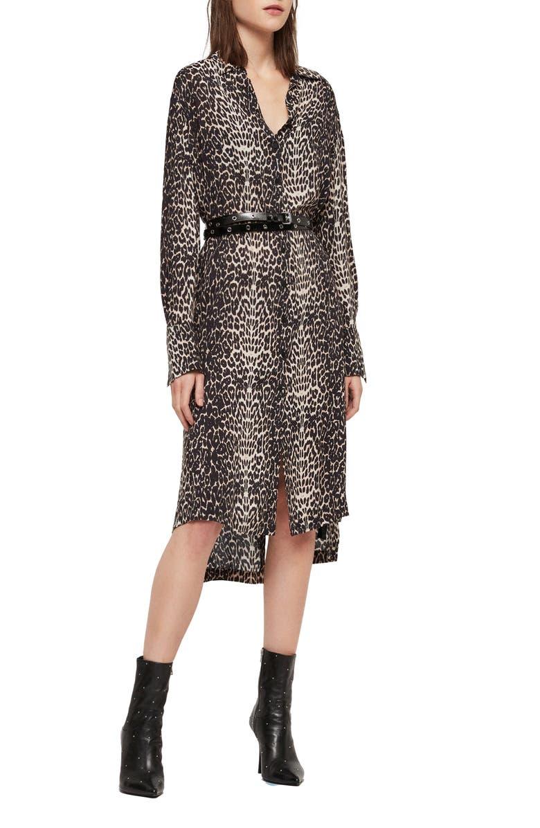 ALLSAINTS Anya Feline Long Sleeve Shirtdress, Main, color, 001
