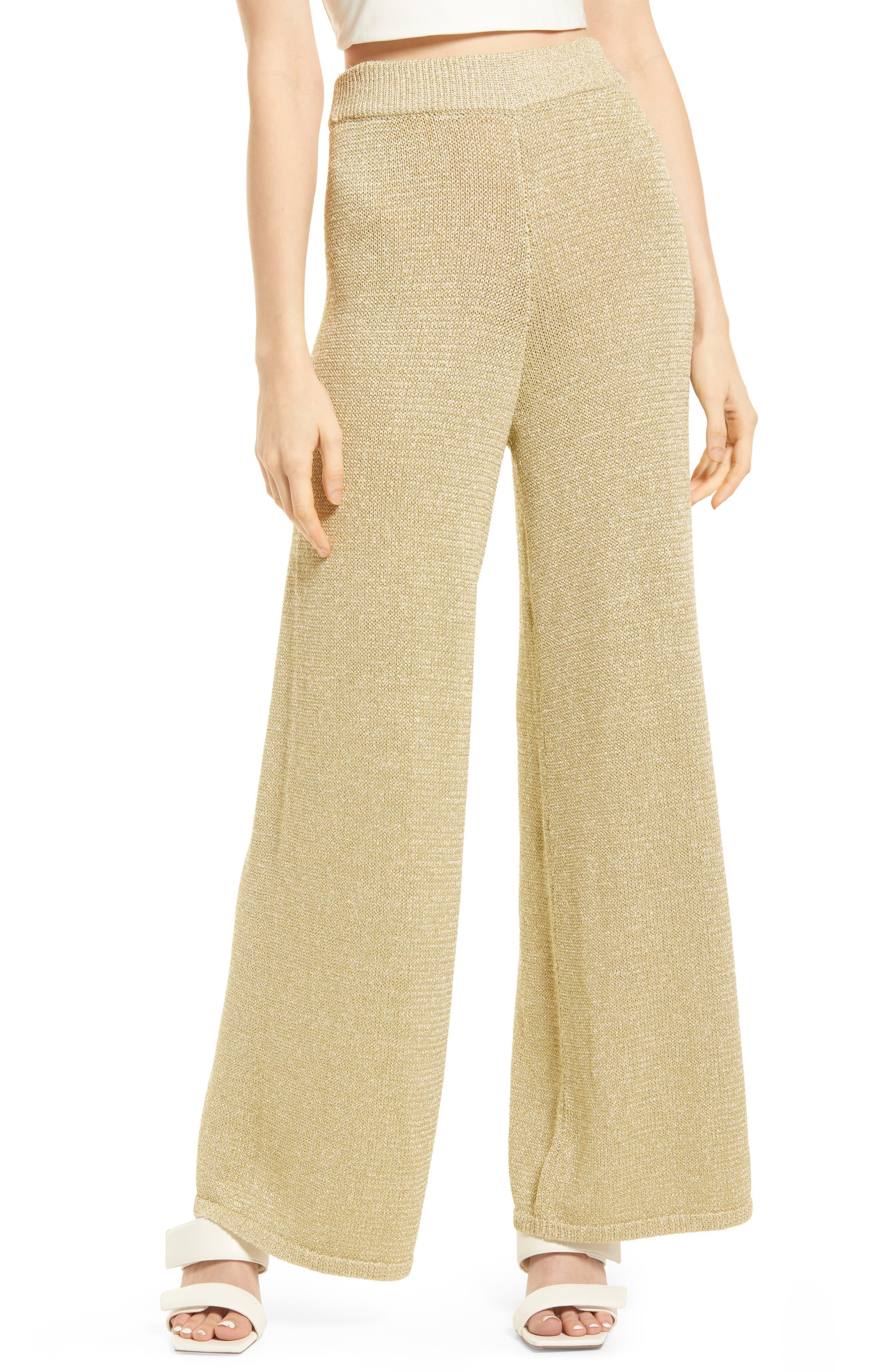 60s Pants, Jeans, Hippie, Flares, Jumpsuits Open Edit Metallic Wide Leg Pants Size Large in Metallic Gold at Nordstrom $69.00 AT vintagedancer.com