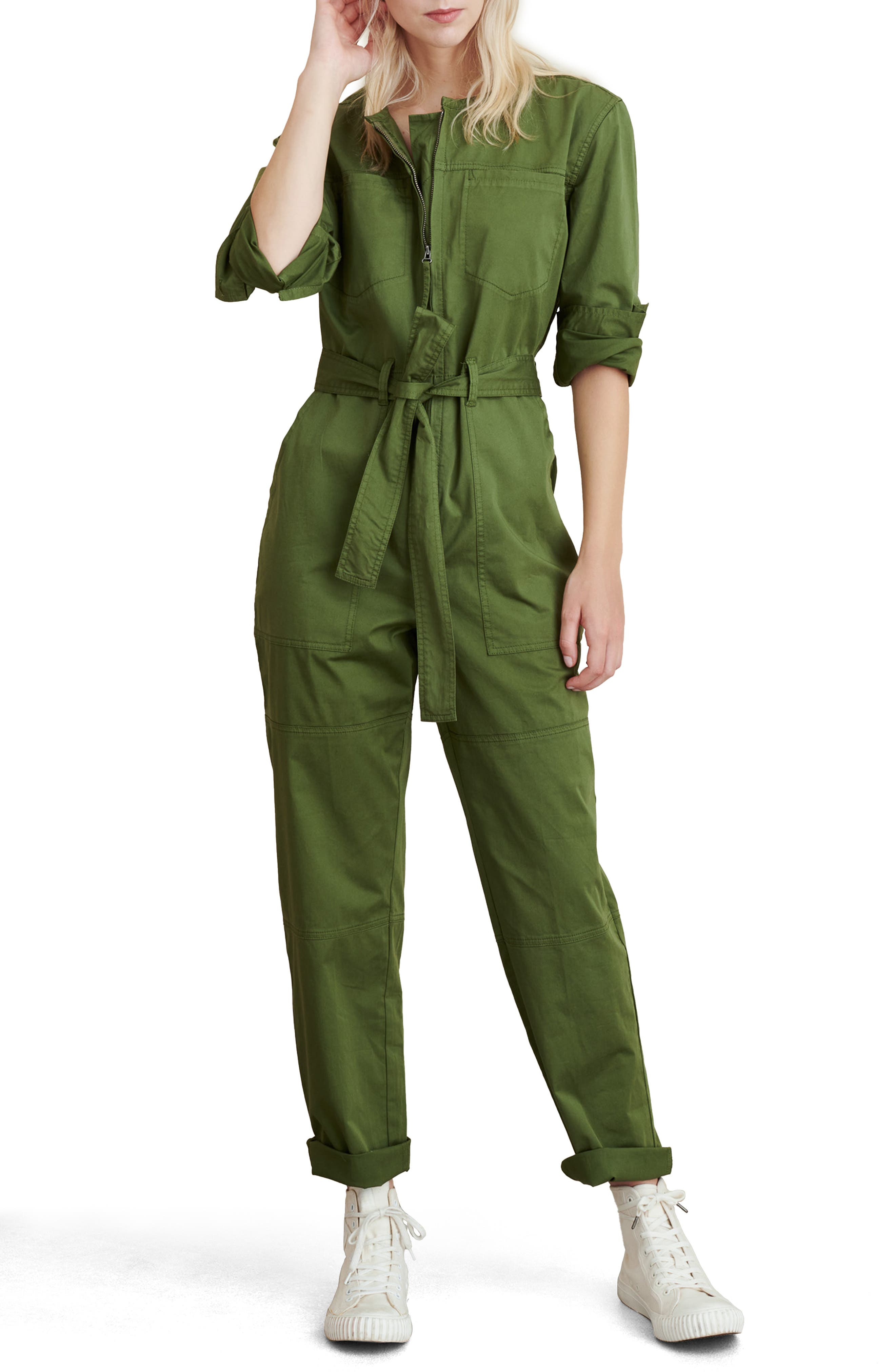 Versatile workwear style is the name of the game with this belted jumpsuit made from supersoft washed twill and embellished with plenty of pockets. Style Name: Alex Mill Jo Belted Jumpsuit. Style Number: 6092807. Available in stores.