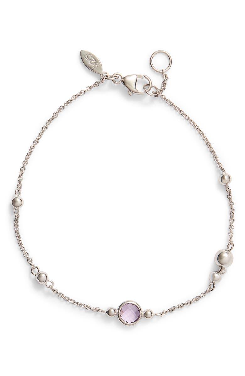 ANZIE Dew Drop Bubbling Brook Blue Topaz Bracelet, Main, color, SILVER