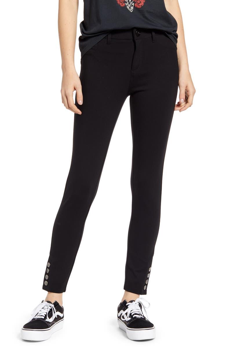 1822 DENIM Button Hem Ponte Ankle Skinny Jeans, Main, color, BLACK
