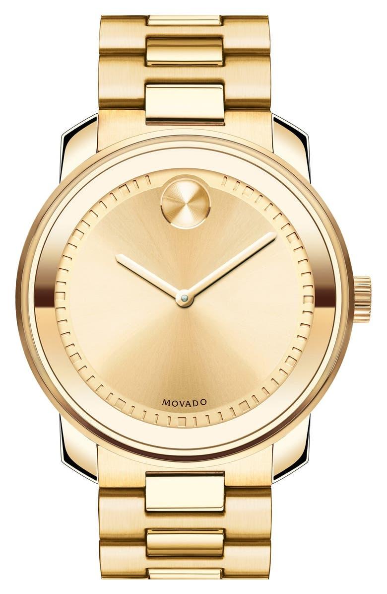 MOVADO 'Bold' Bracelet Watch, 43mm, Main, color, GOLD