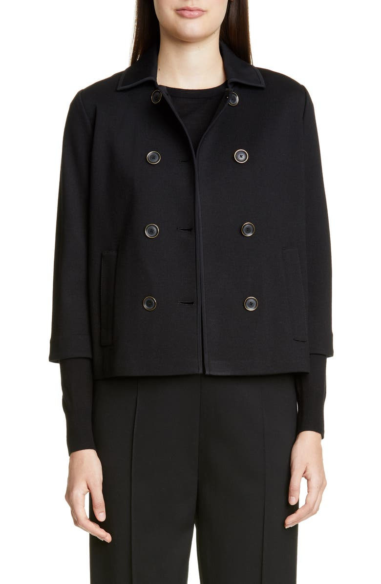 ST. JOHN COLLECTION Double Breasted Milano Knit Jacket, Main, color, CAVIAR/ TRUFFLE MULTI