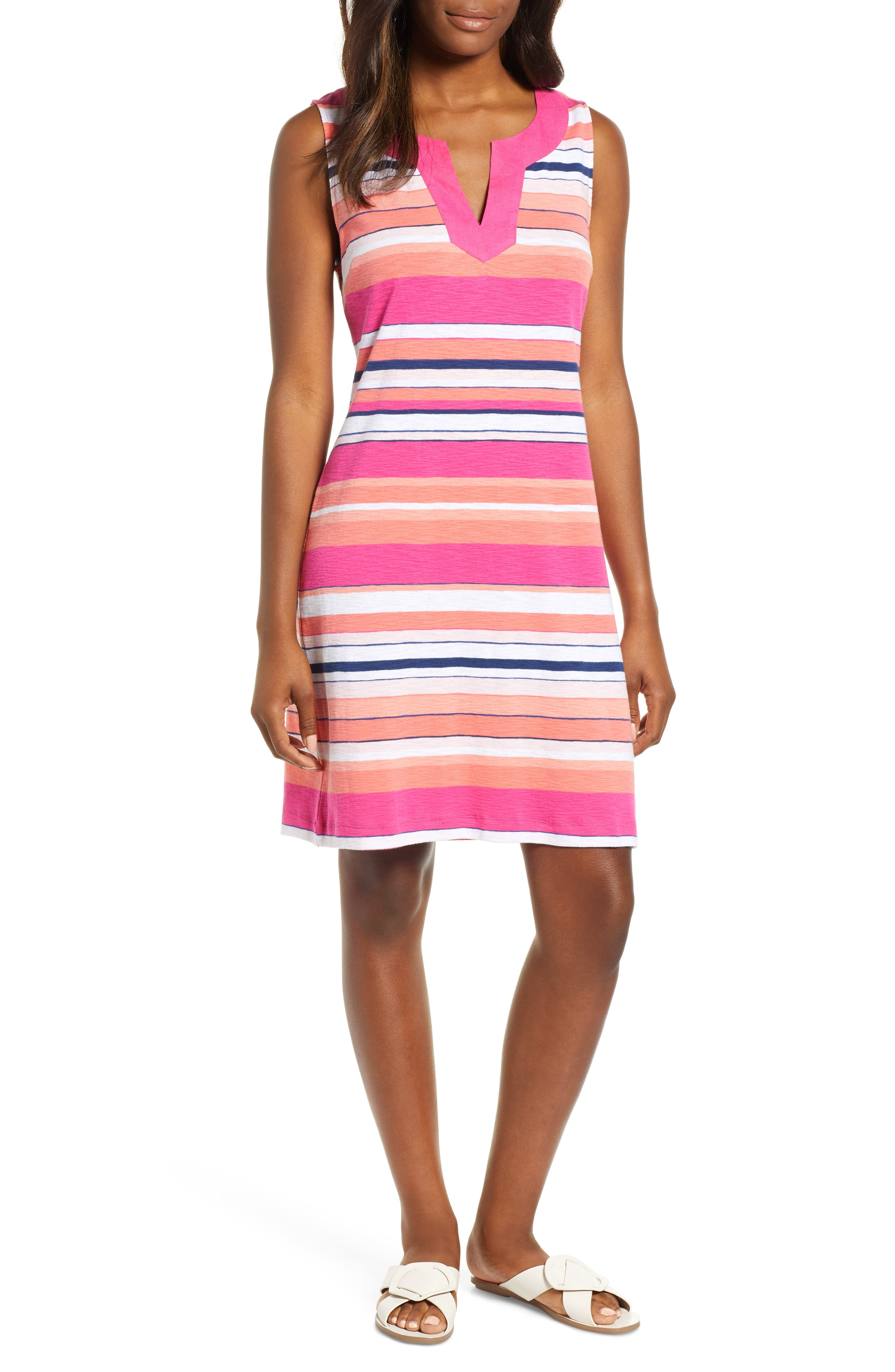 Tommy Bahama Bold And Bolder Stripe Cotton Shift Dress, Pink