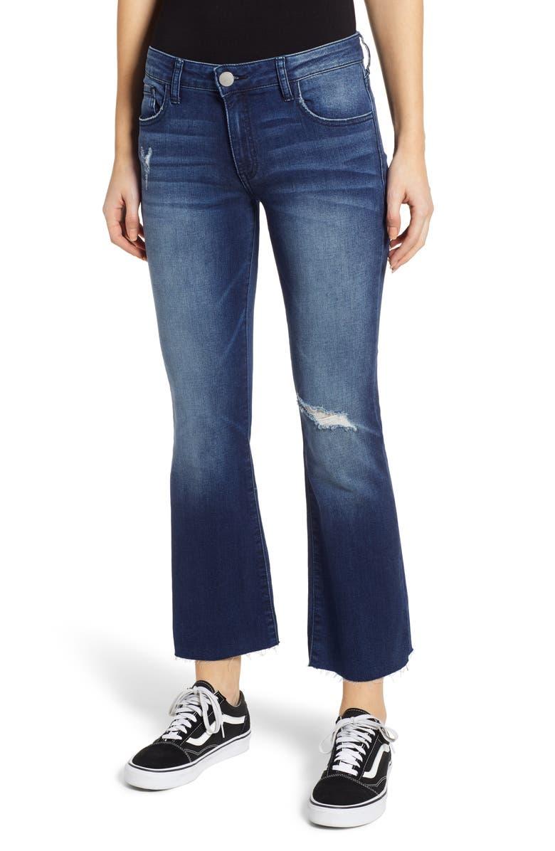 PROSPERITY DENIM Ripped Crop Flare Jeans, Main, color, DARK