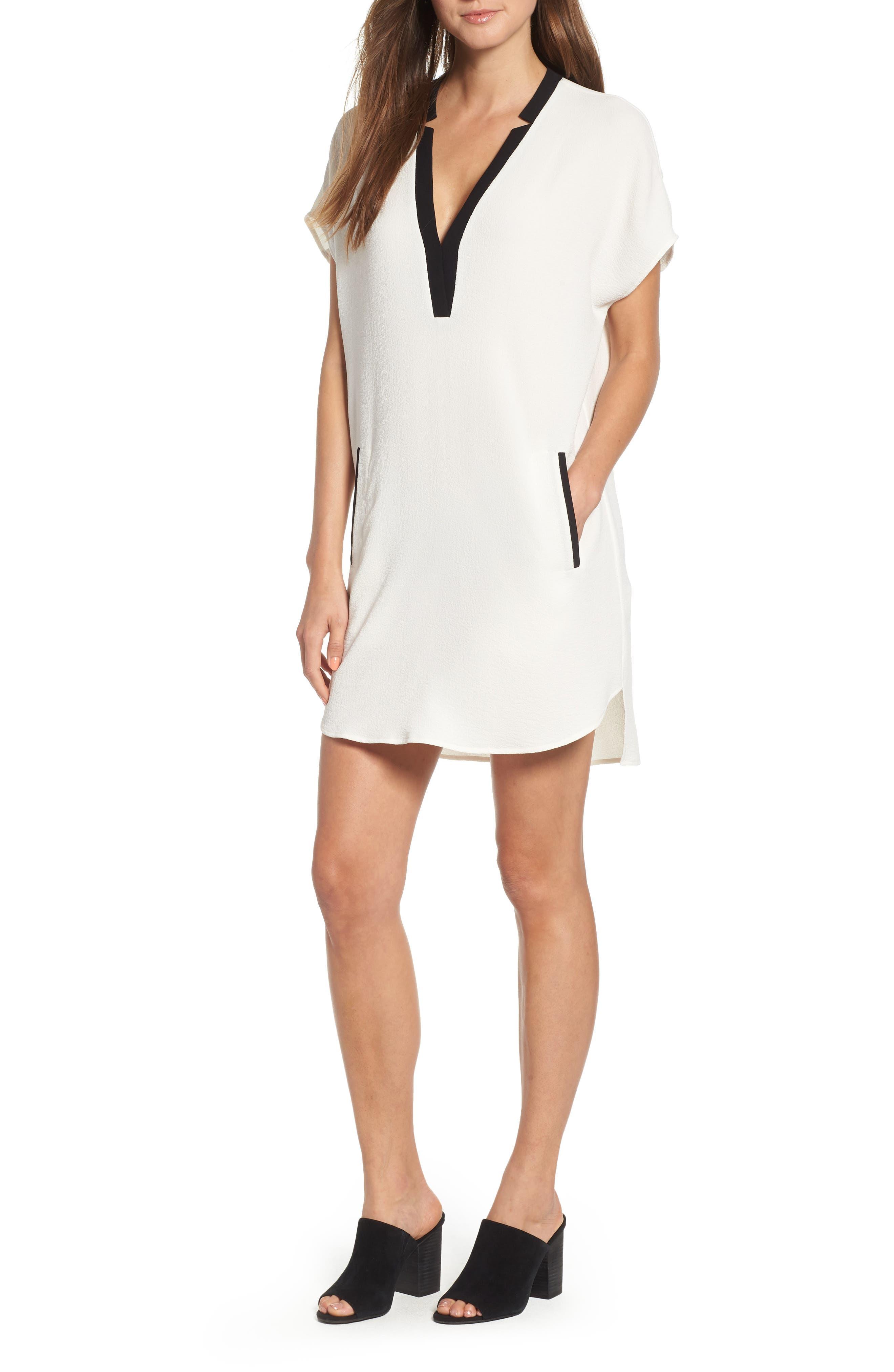 ,                             ASTR V-Neck Crepe Shift Dress,                             Main thumbnail 11, color,                             900
