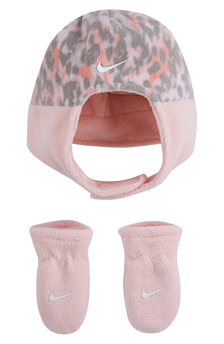 NIKE Swoosh Trapper Hat & Mittens Set, Main, color, ECHO PINK