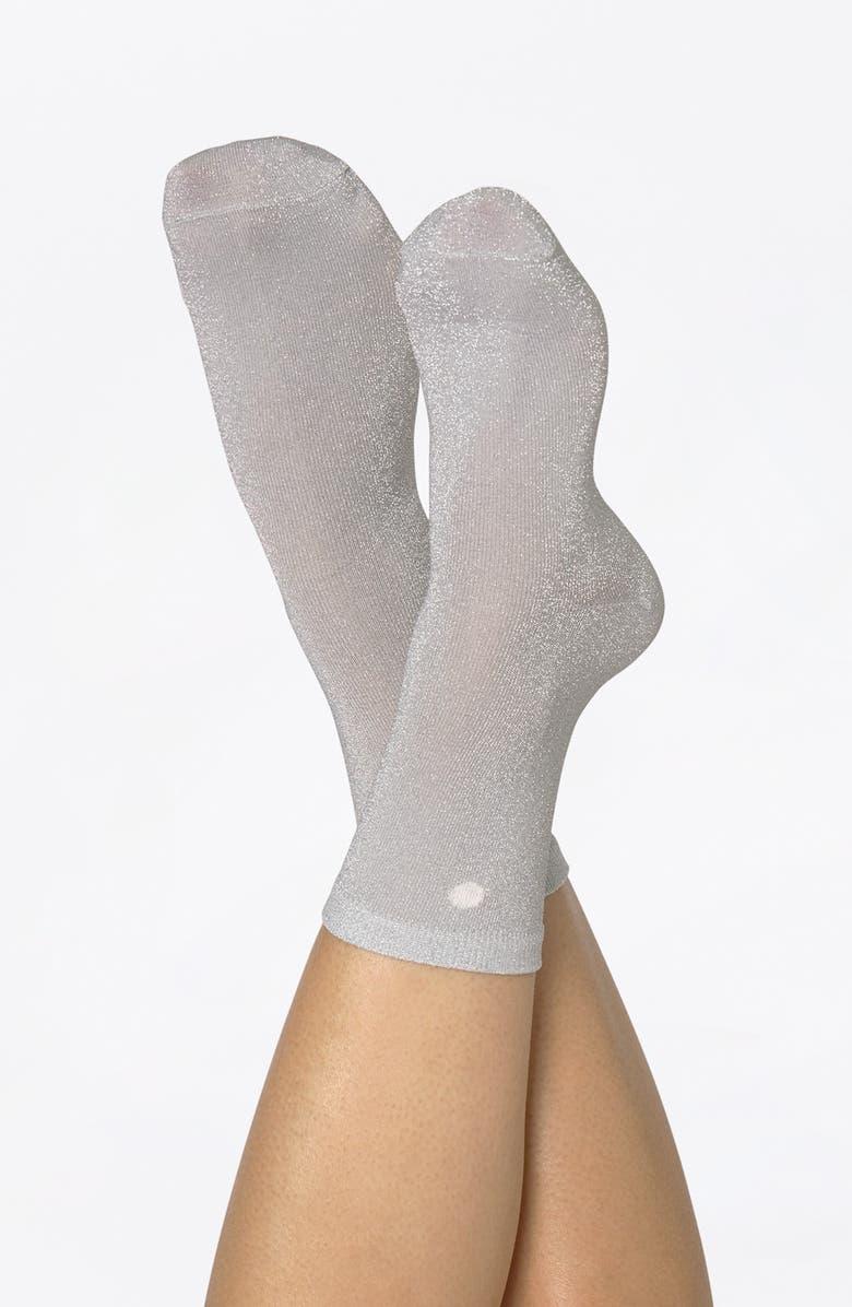 DOIY Shell Metallic Crew Socks, Main, color, SILVER