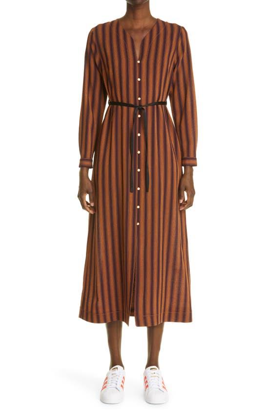 Wales Bonner KINGSTON STRIPE LONG SLEEVE CAFTAN DRESS