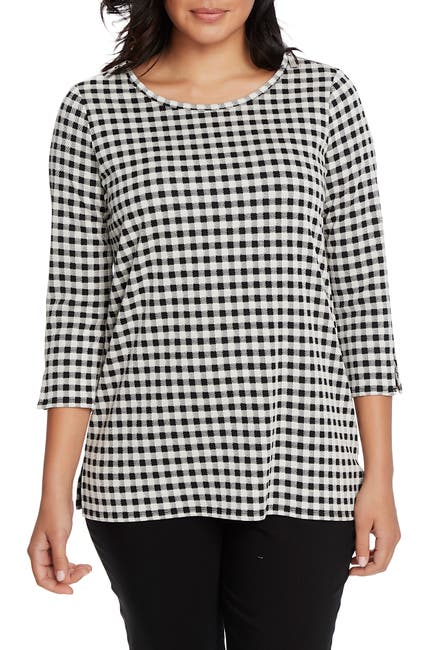 Image of Chaus 3/4 Sleeve Zip Shoulder Check Knit Top