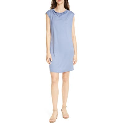 Eileen Fisher Drape Neck Shift Dress, Blue