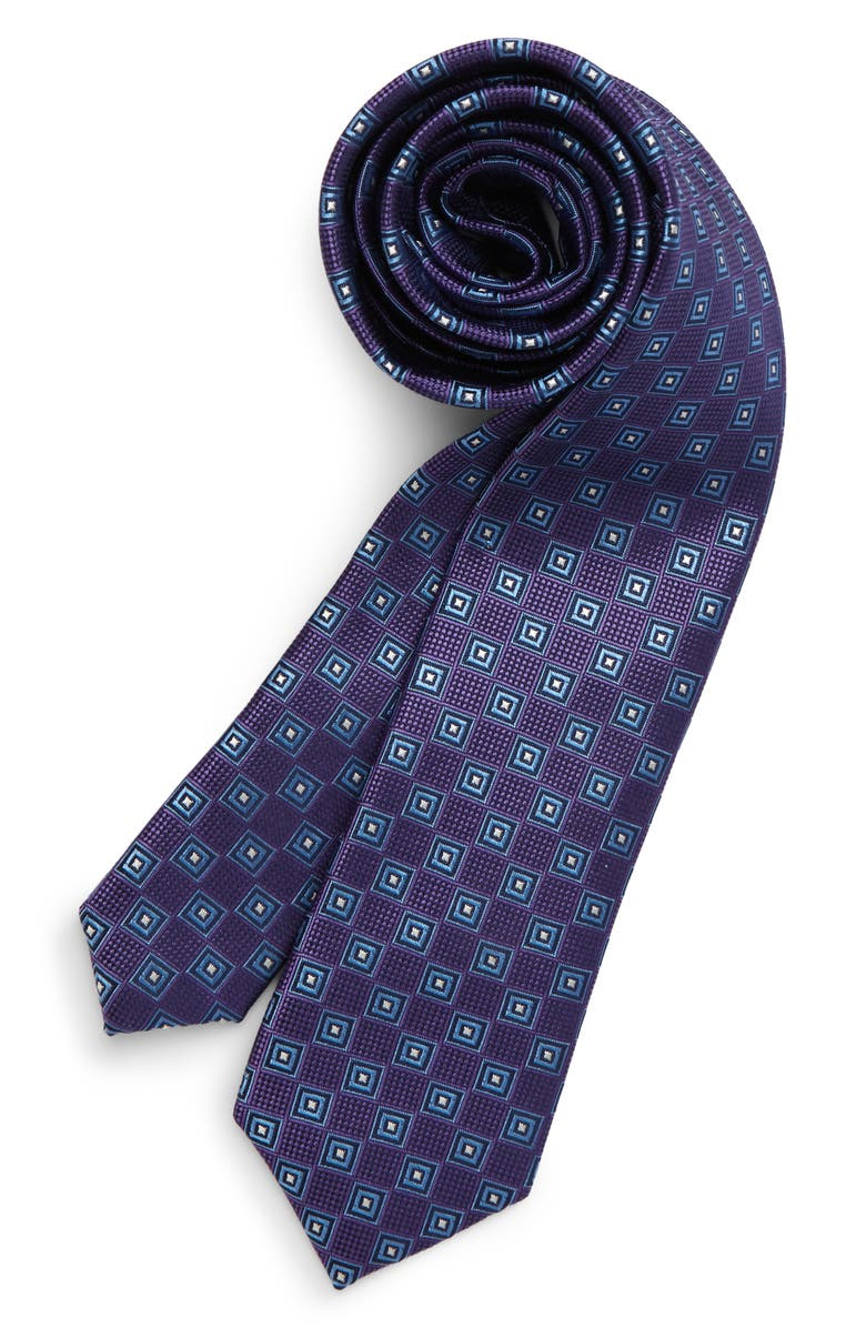 NORDSTROM Winston Geometric Silk Tie, Main, color, PURPLE