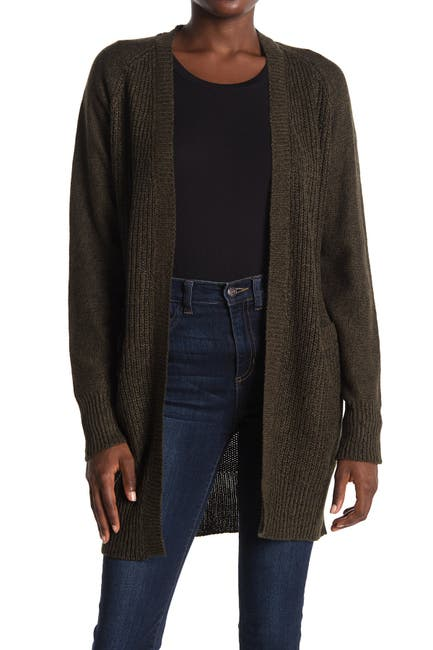 Image of Modern Designer Raglan Sleeve Elbow Patch Tunic Cardigan
