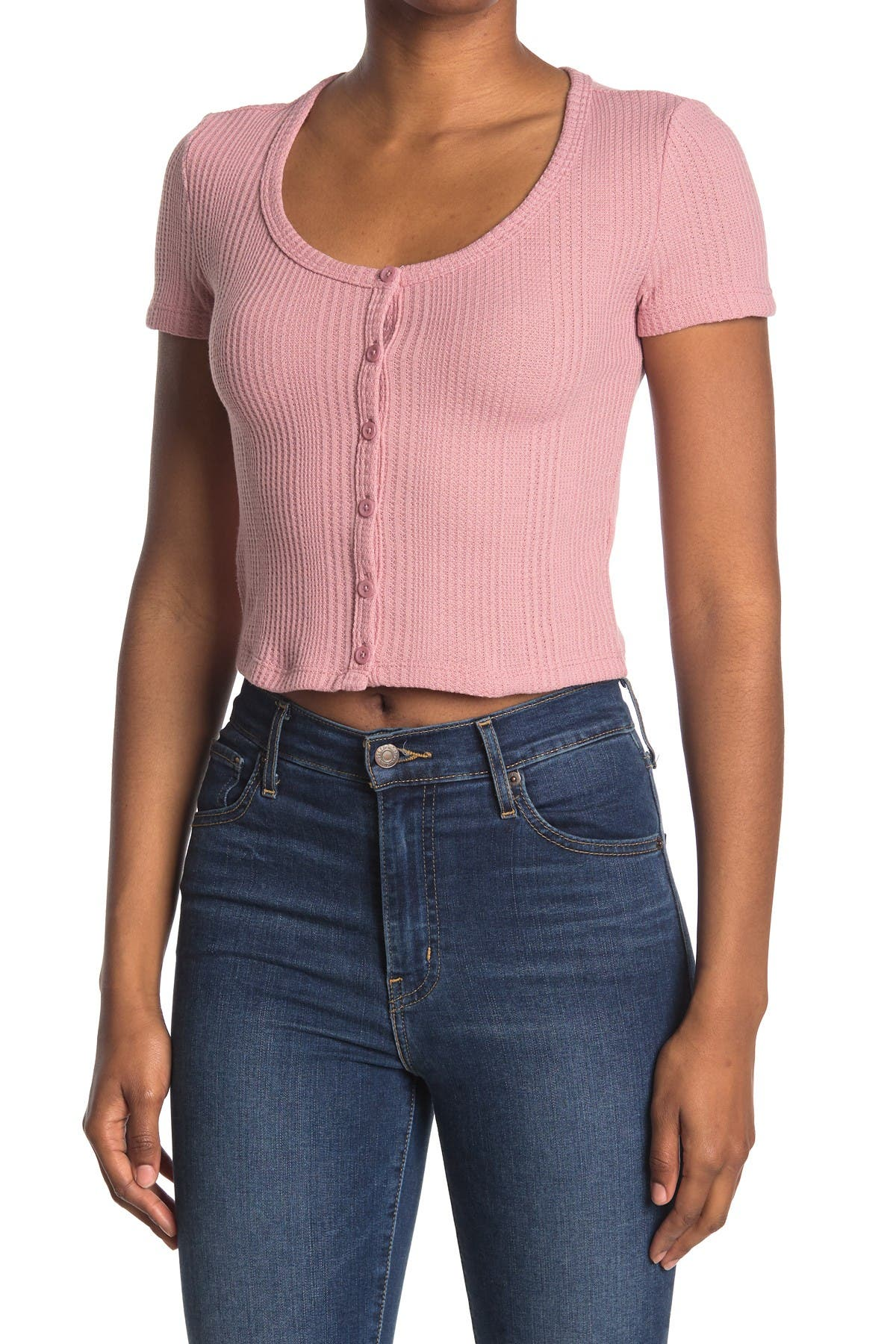 Image of Elodie Waffle Knit Short Sleeve Button-Up Crop Top