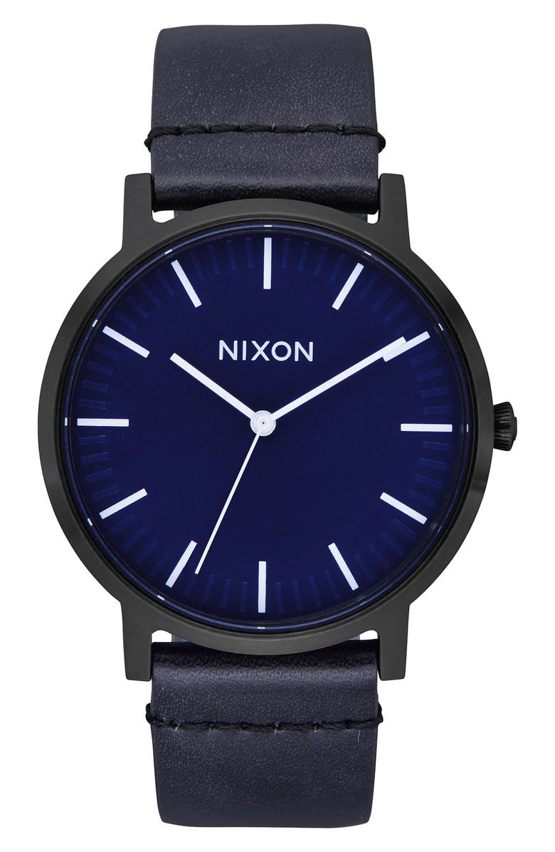 NIXON Porter Round Leather Strap Watch, 40mm, Main, color, 005