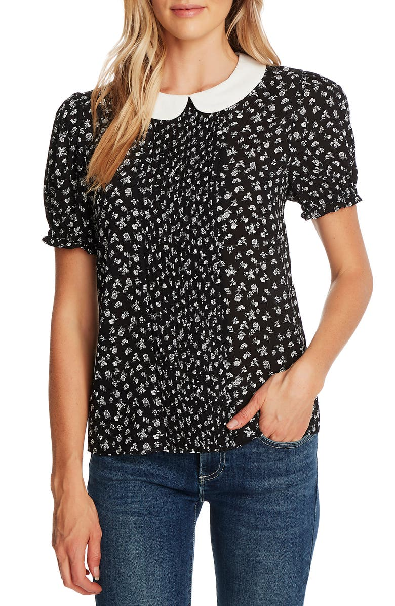 CECE Ditsy Floral Print Pintuck Pleat Top, Main, color, RICH BLACK