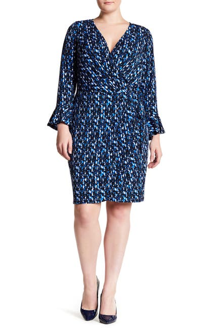 Image of London Times Surplice Neck Bell Sleeve Dress