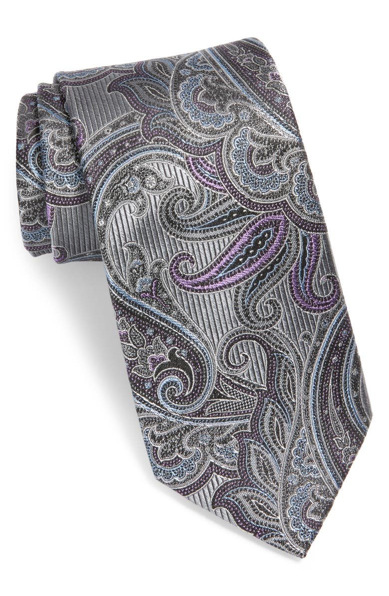 NORDSTROM MEN'S SHOP Paisley Silk Tie, Main, color, SILVER