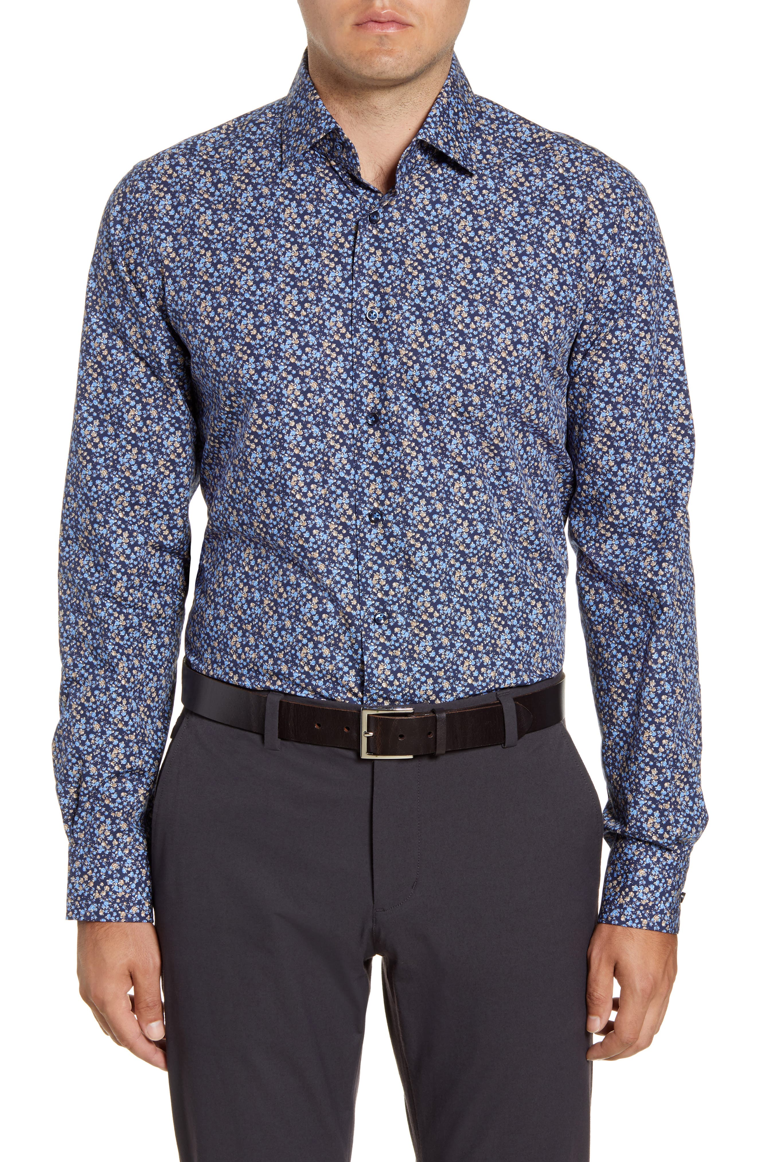 Image of EMANUEL BERG Regular Fit Floral Print Button-Up Shirt