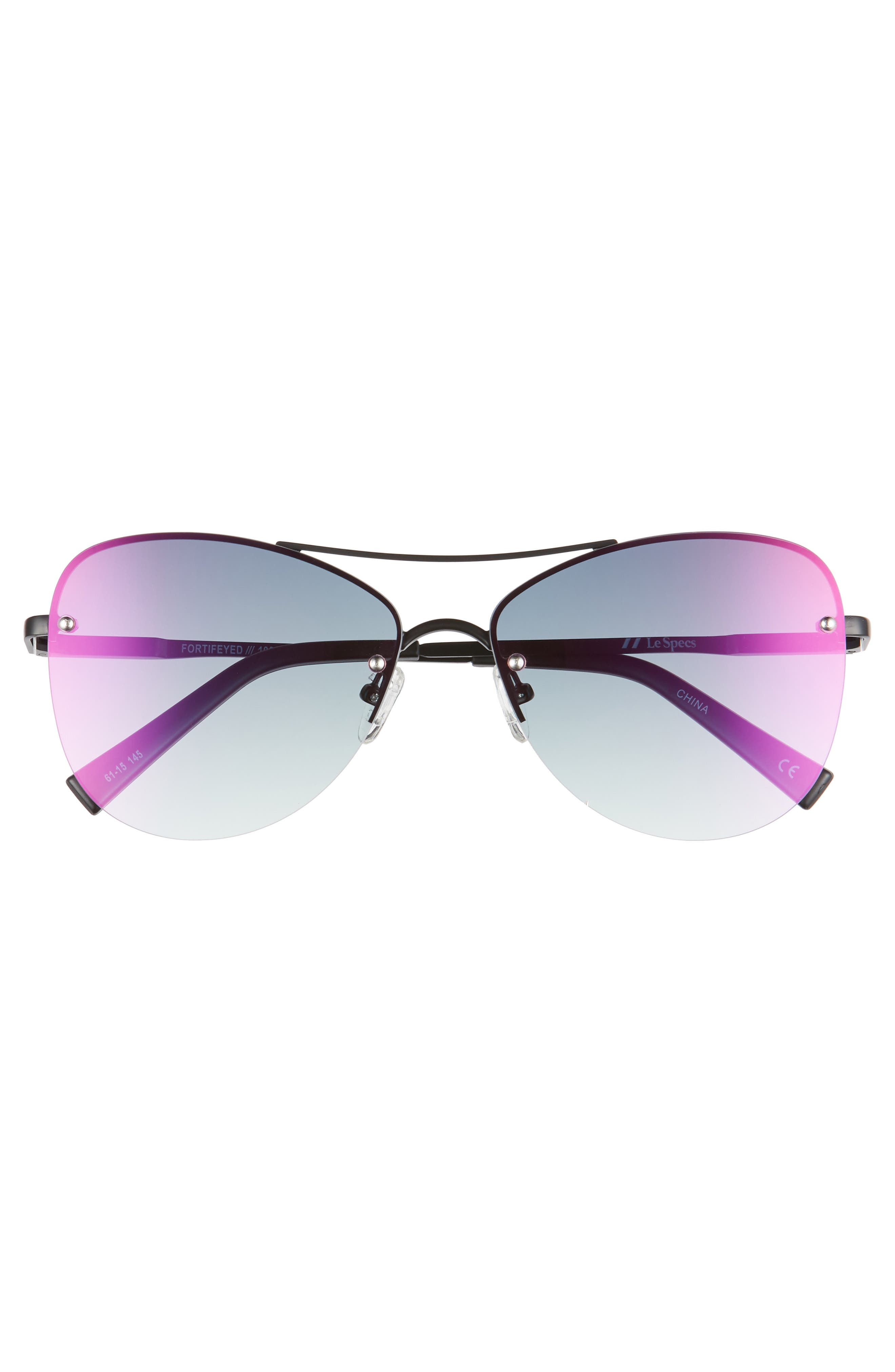 ,                             Fortifeyed 61mm Mirrored Aviator Sunglasses,                             Alternate thumbnail 3, color,                             MATTE BLACK/ ICE FIRE MIRROR