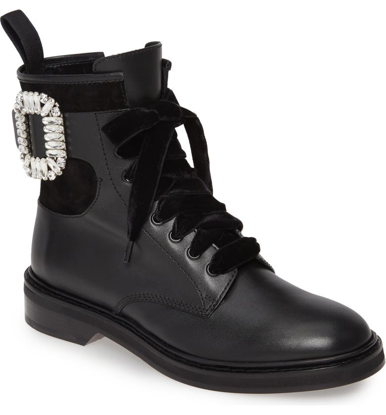 ROGER VIVIER Viv Rangers Buckle Boot, Main, color, BLACK