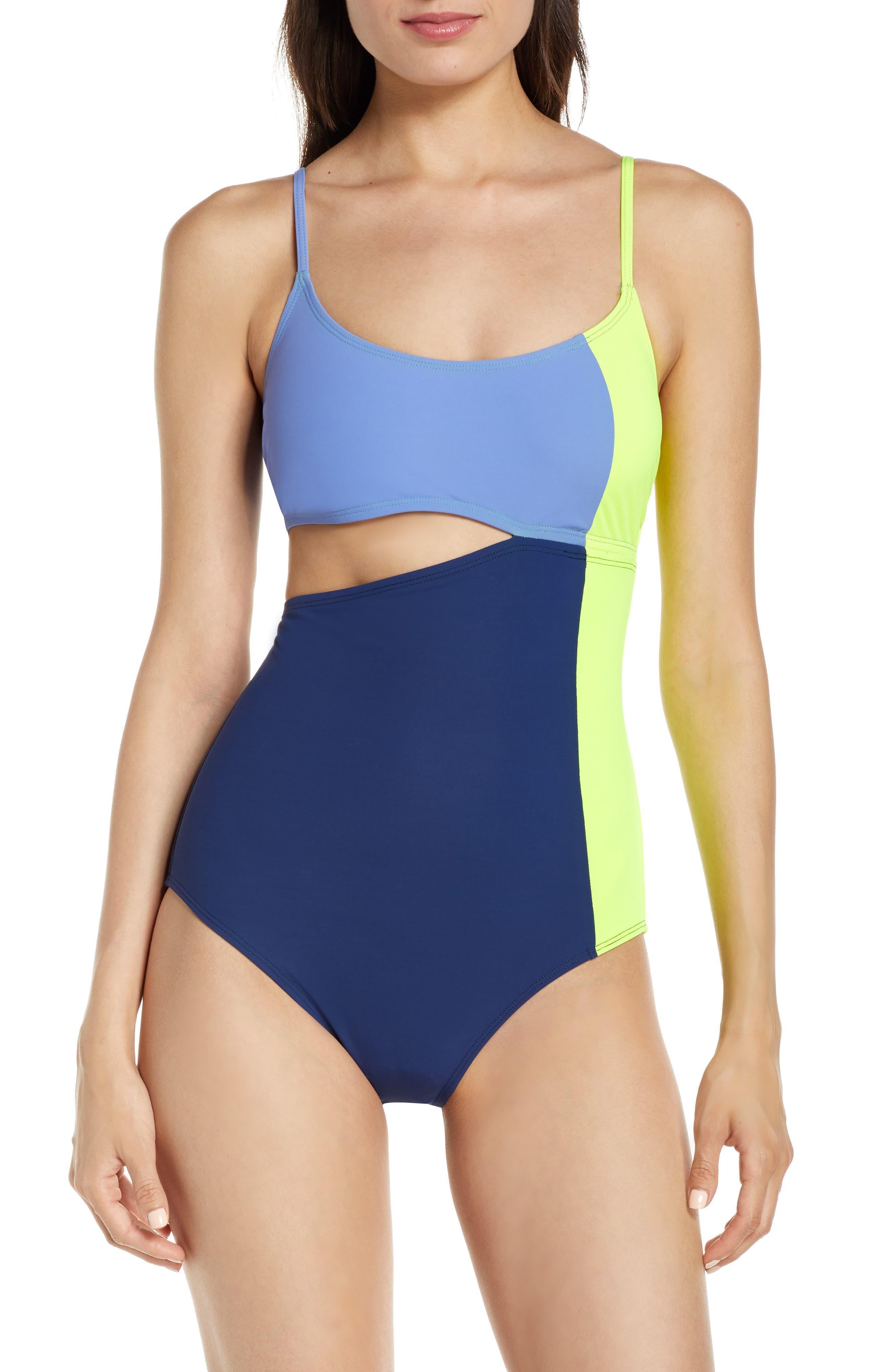 Flagpole Eve One-Piece Swimsuit, Blue