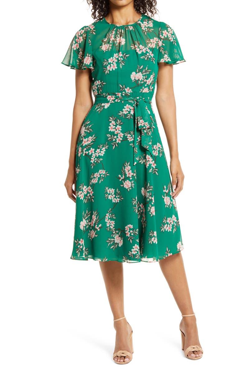 HARPER ROSE Floral Flutter Sleeve Chiffon Dress, Main, color, GREEN