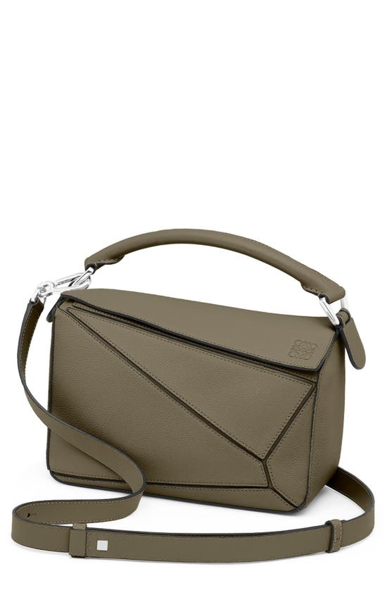 Loewe Small Puzzle Leather Shoulder Bag In Khaki Green