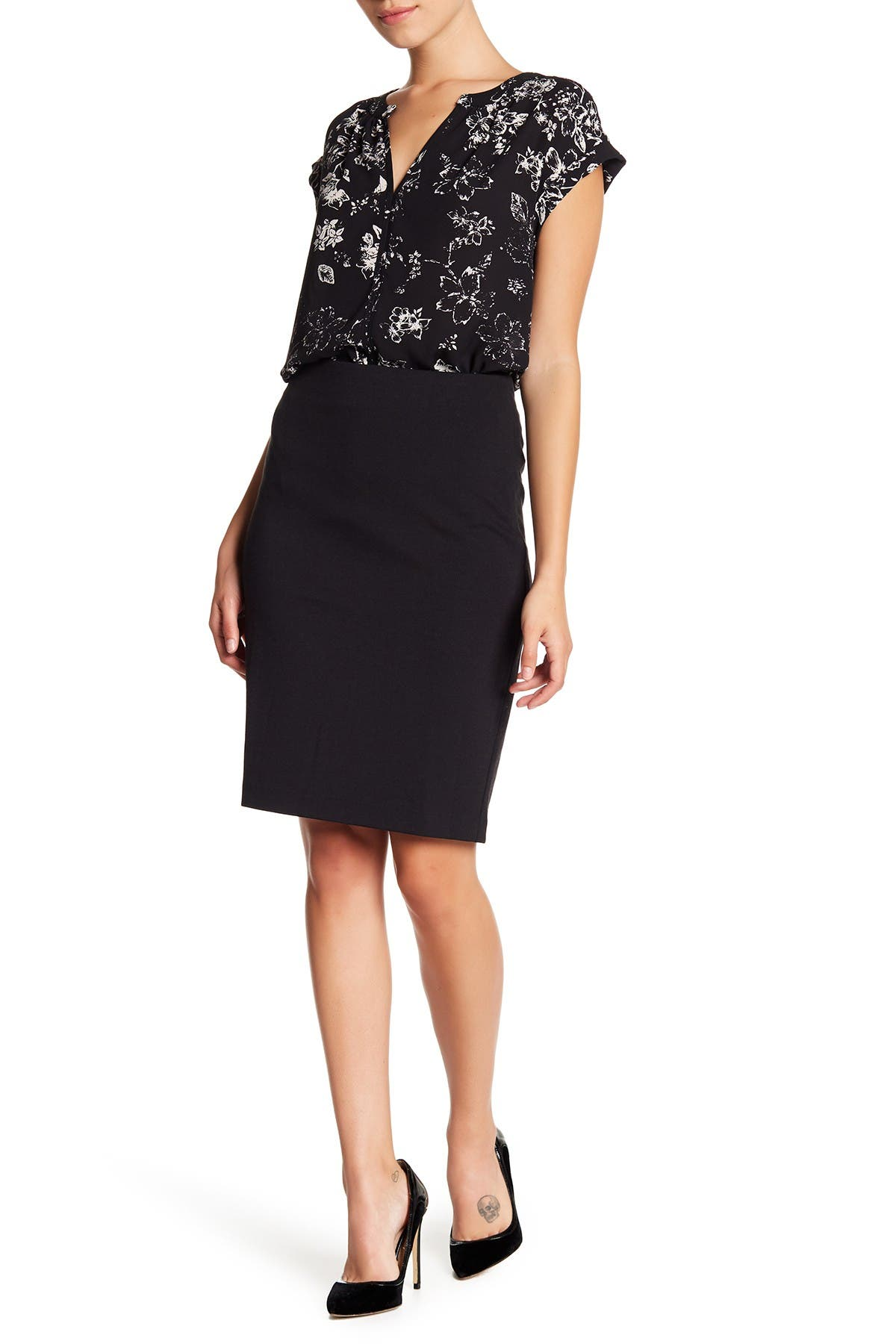 Image of Philosophy Apparel Solid Ponte Pencil Skirt
