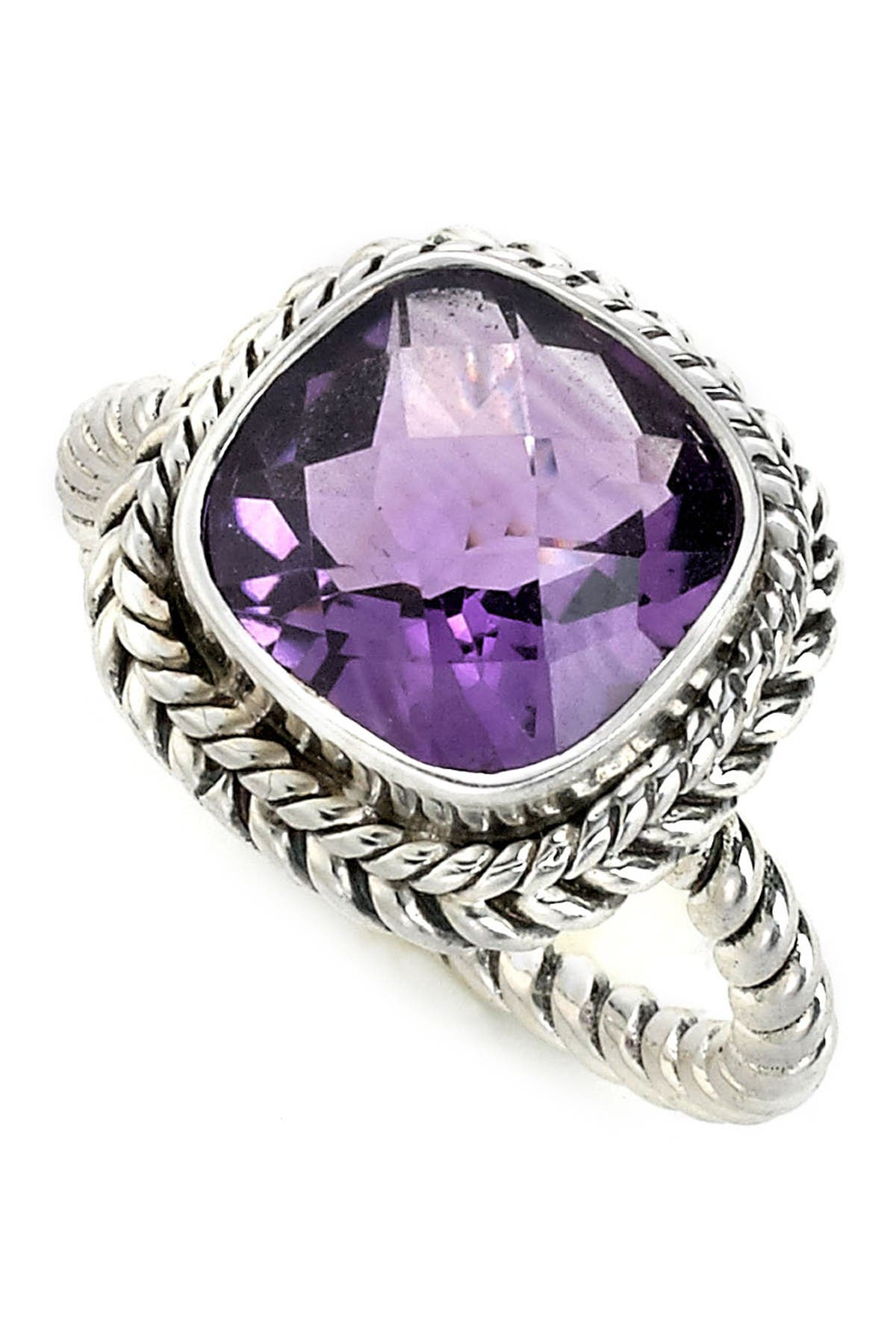 Image of Samuel B Jewelry Sterling Silver Cushion Cut Amethyst Twisted Shank Ring