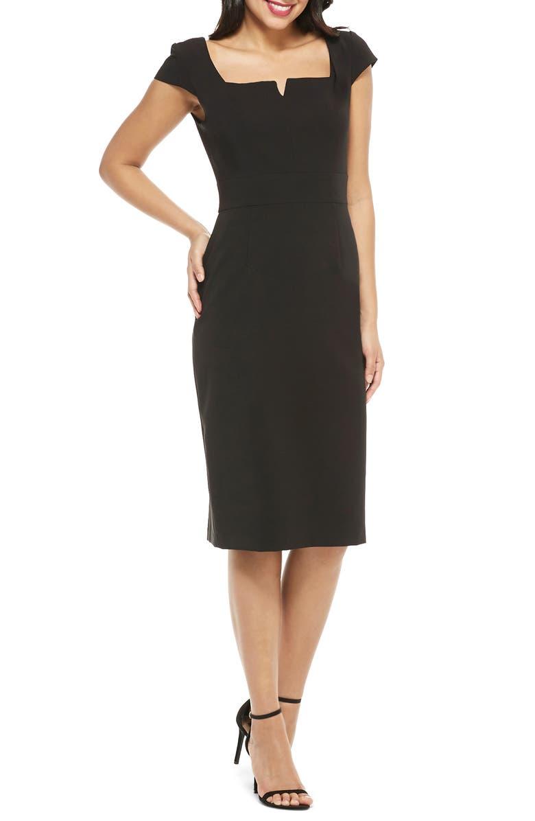 MAGGY LONDON Crepe Sheath Dress, Main, color, BLACK