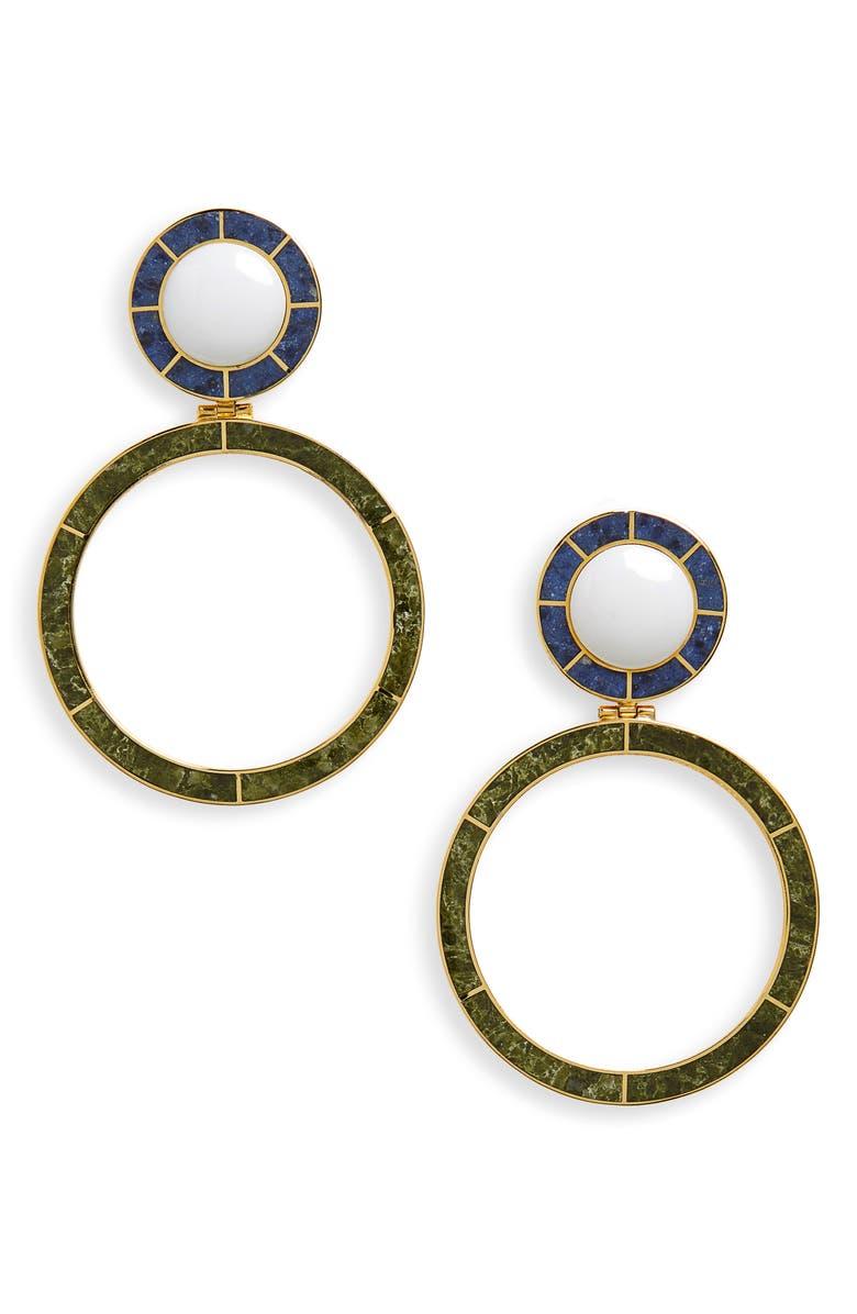 MONICA SORDO YMA Drop Earrings, Main, color, WHITE/ DUMORTIERITE/ UNAKITE