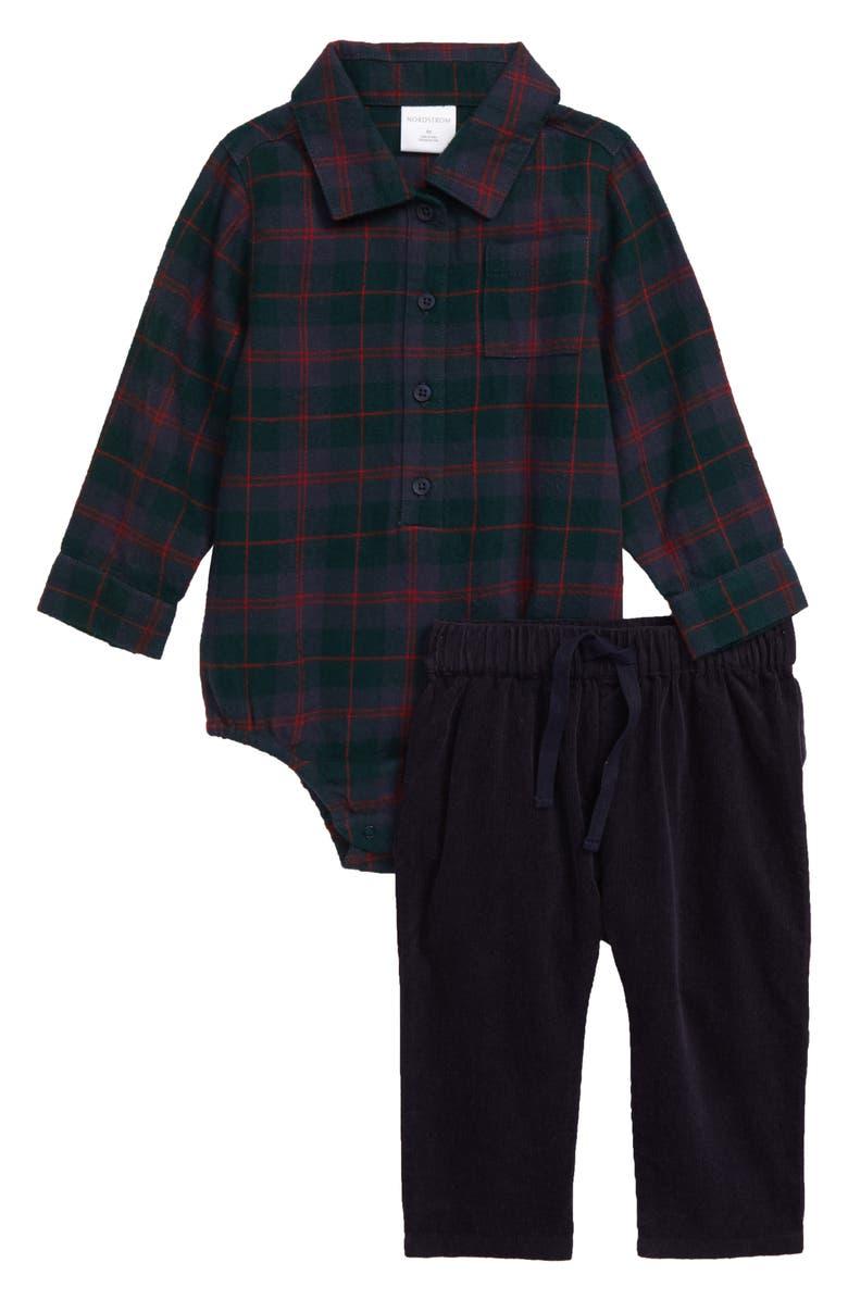 NORDSTROM Two-Piece Flannel Bodysuit & Pants Set, Main, color, 301