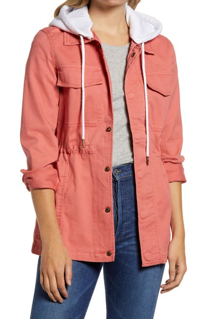 Image of Caslon Hooded Utility Jacket
