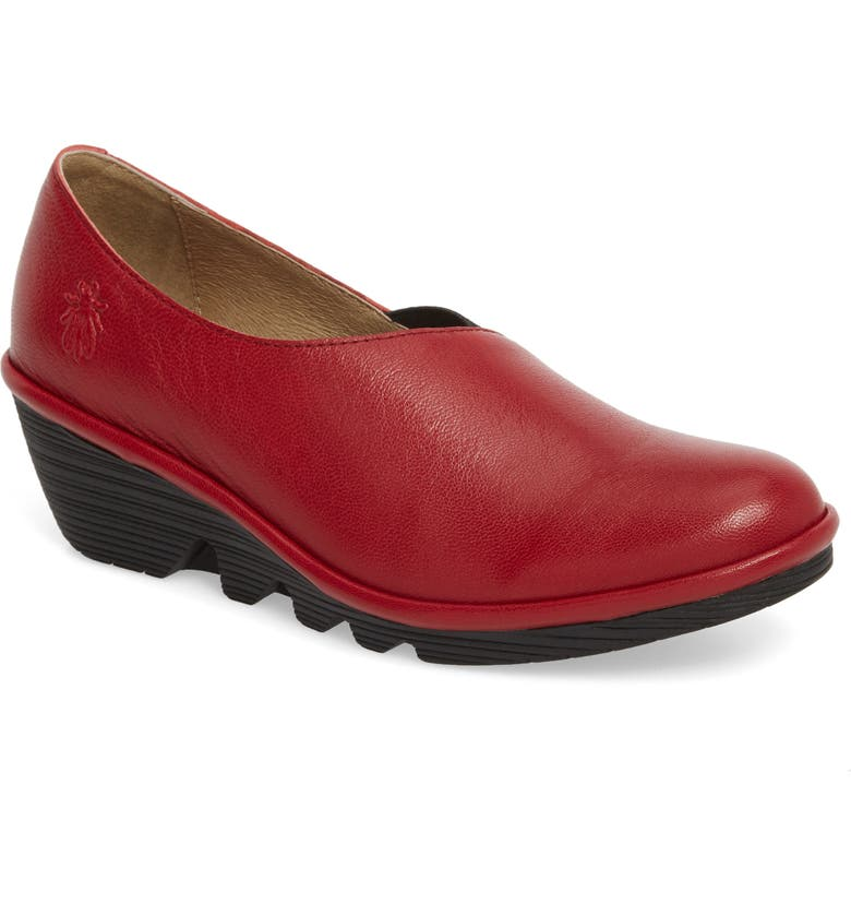 FLY LONDON Peso Wedge, Main, color, RIO RED LEATHER