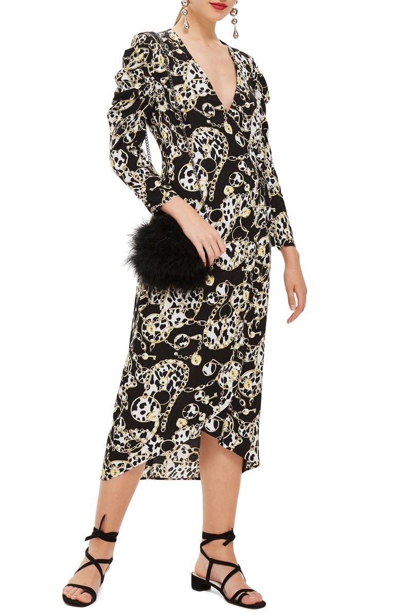 TOPSHOP Chain Jacquard Midi Dress, Main, color, 001