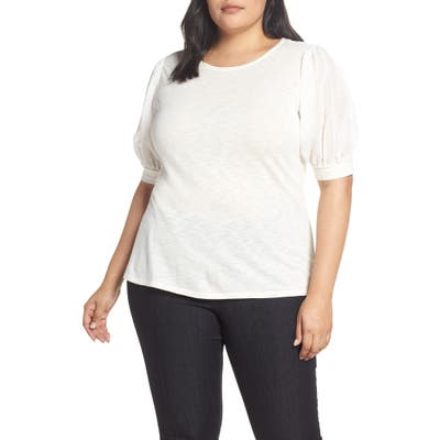 Plus Size Cece Puffed Sleeve Tee, White