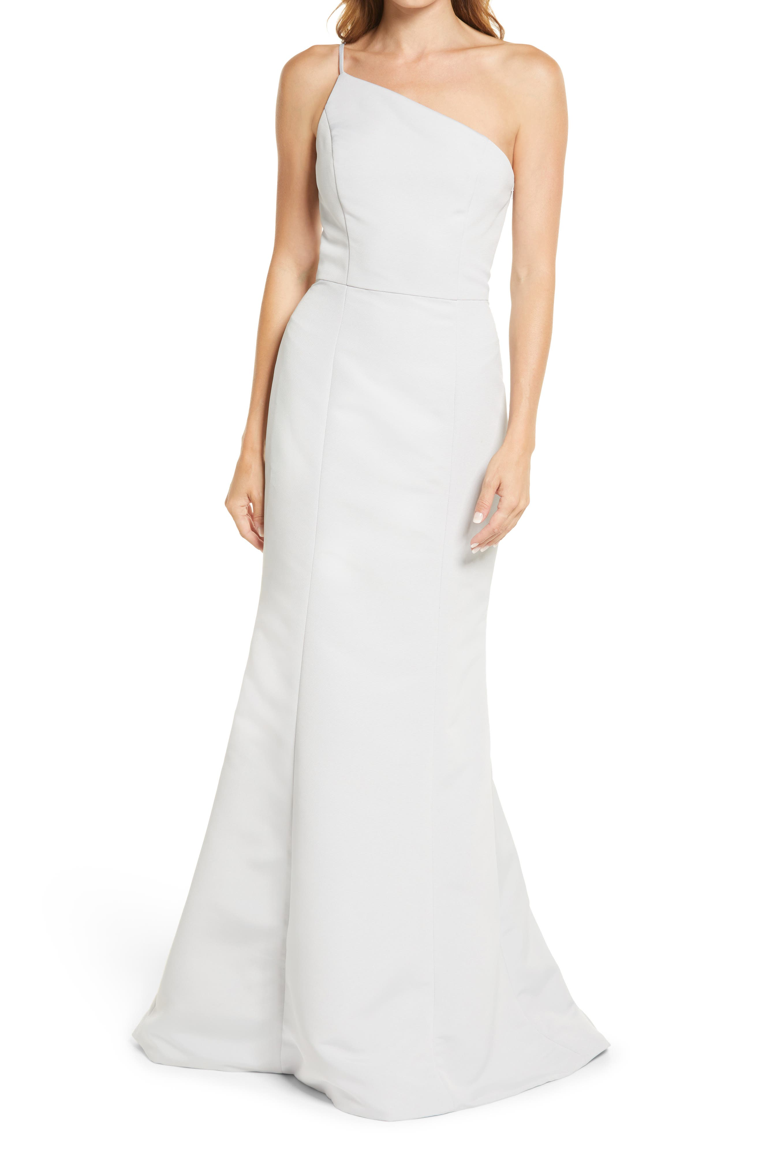 One-Shoulder Faille Mermaid Gown
