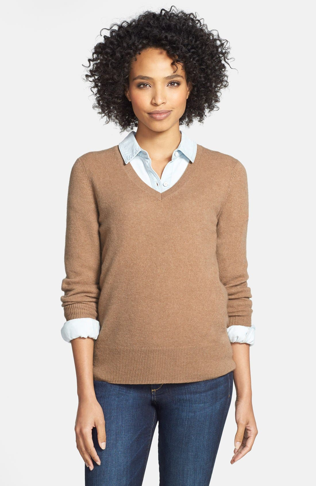 ,                             Cashmere V-Neck Sweater,                             Main thumbnail 21, color,                             201