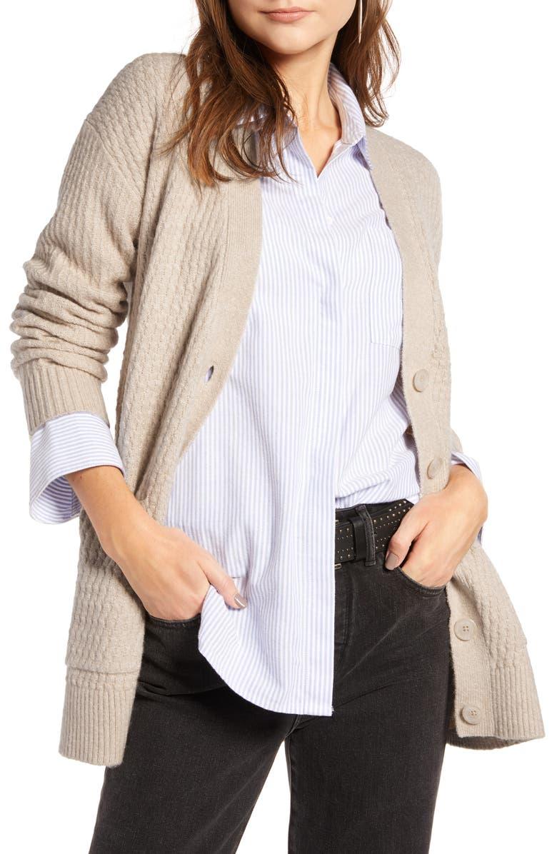 TREASURE & BOND Textured Cardigan, Main, color, BEIGE OATMEAL MEDIUM HEATHER