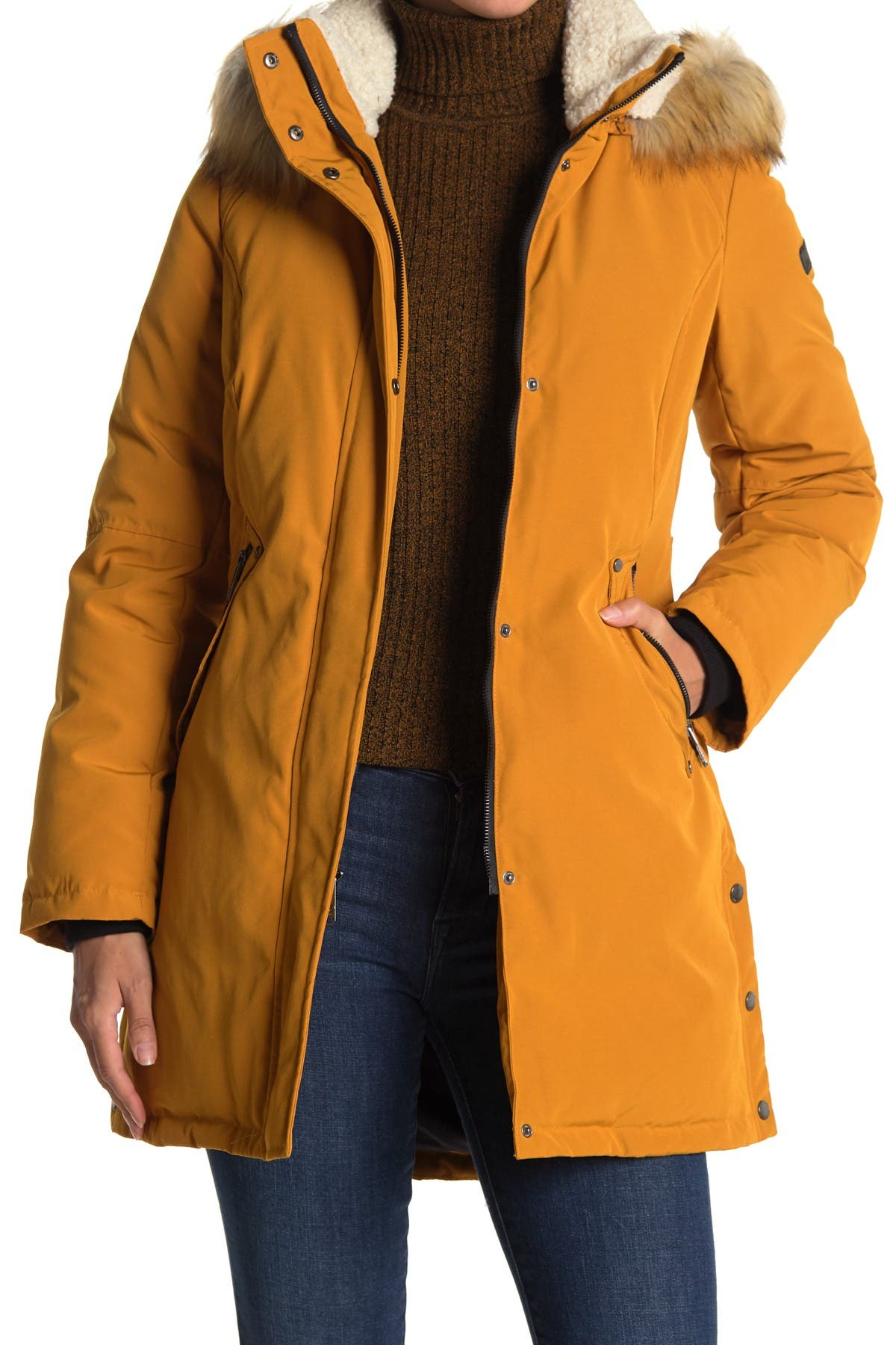 DKNY Girls Winter Coat Heavyweight Anorak Parka Jacket with Removable Faux-Fur Lined Hood
