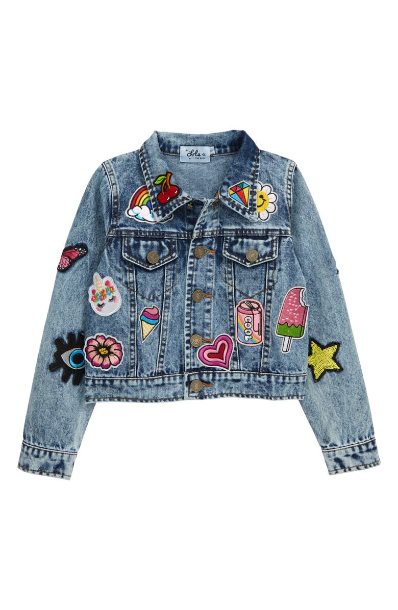 LOLA & THE BOYS All About the Patch Denim Jacket, Main, color, 400
