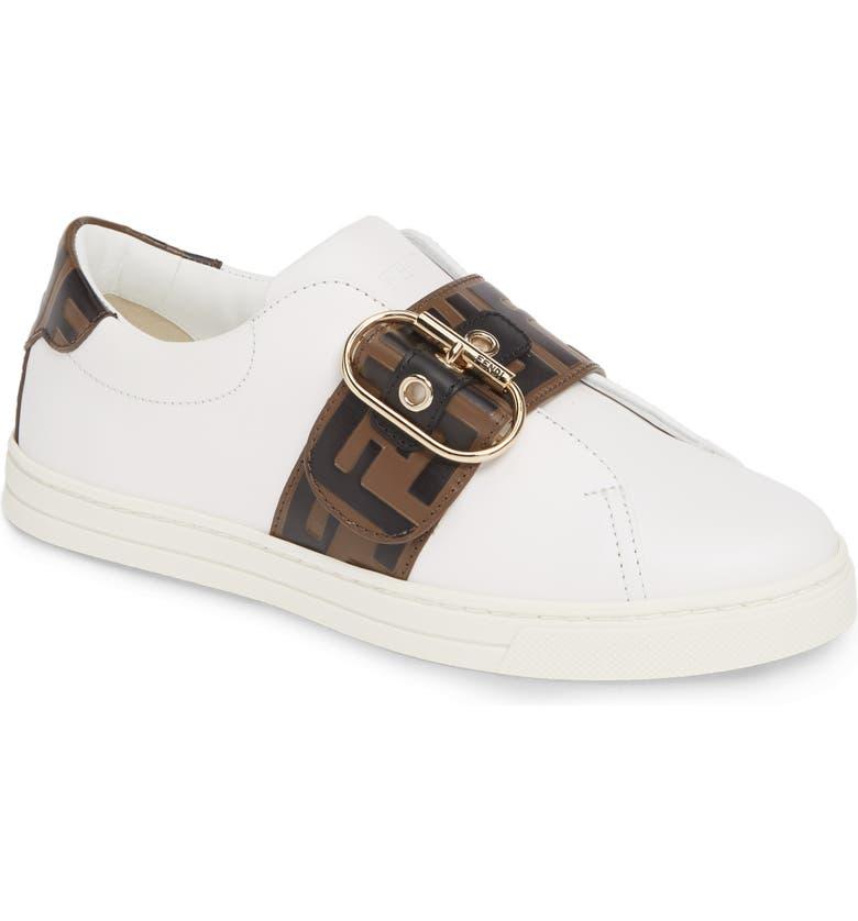 FENDI Pearland Logo Slip-On Sneaker, Main, color, WHITE/ BLACK