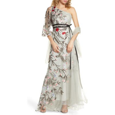 MAC Duggal One-Shoulder Asymmetrical Embroidered Gown, Grey