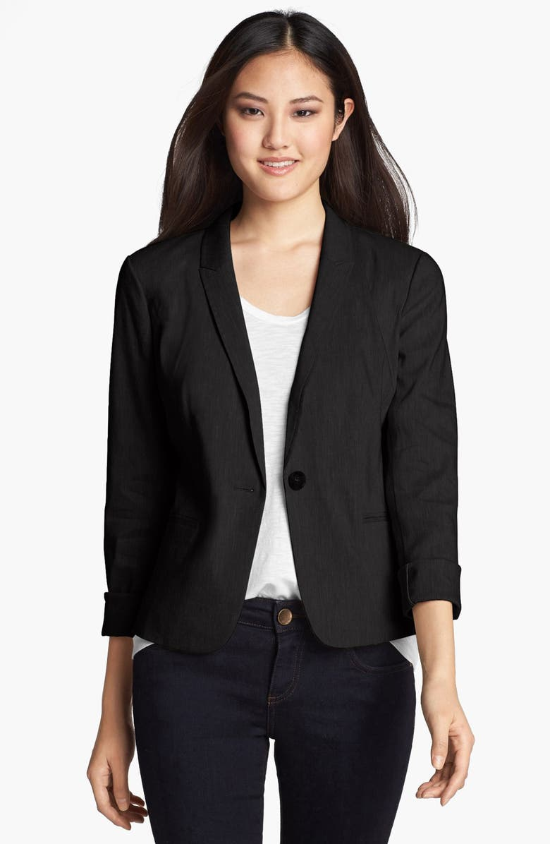 HALOGEN<SUP>®</SUP> Linen Blend Blazer, Main, color, 001