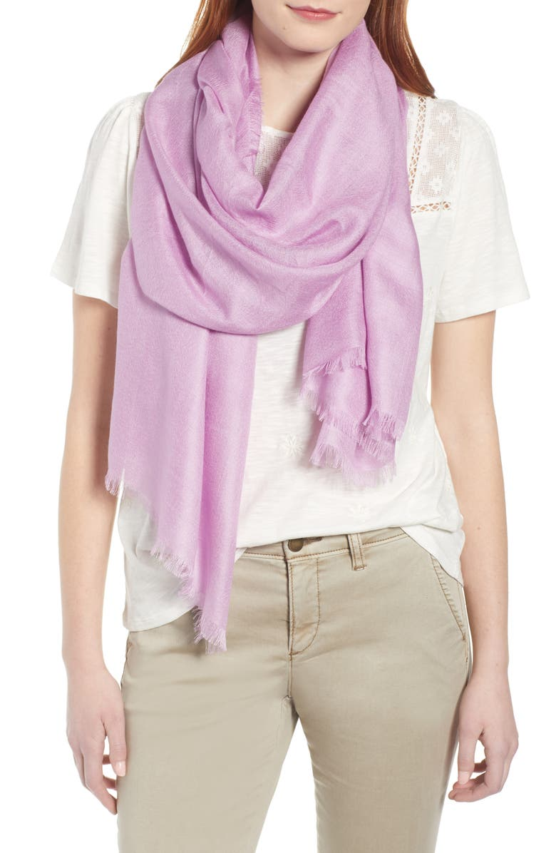 NORDSTROM Cashmere & Silk Wrap, Main, color, PINK GALE