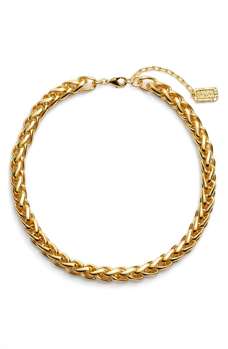 KARINE SULTAN Braided Link Collar Necklace, Main, color, GOLD