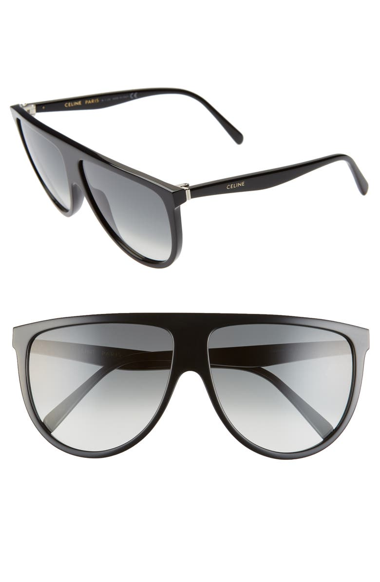 CELINE 62mm Aviator Sunglasses, Main, color, SHINY BLACK